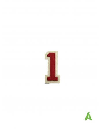 """Nummer """"1"""" zum Aufnähen von hute und mutzen und Kleidung, bestickt auf rot-beigem Filzstoff mit Thermokleber für heiße Pressen"""