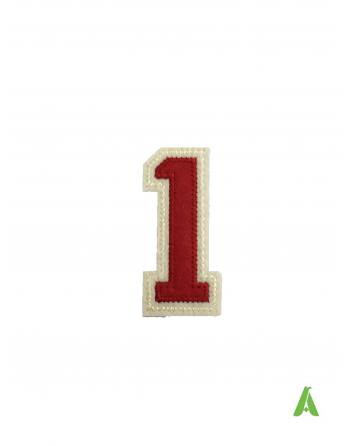 """Chiffres-nombre """"1"""" brodées rouge beige 7 cm thermocollant et à coudre sur sweat-shirts et vêtements."""