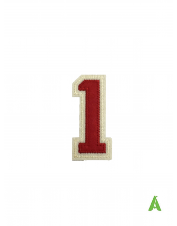 """Embroidered Number """"1"""" to sew on clothing, stitched on red beige felt fabric, with heat adhesive for heat presses."""