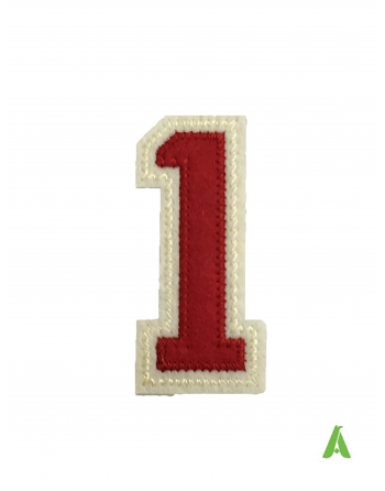 """Embroidered Number """"1"""" to sew on sweaters  & clothing, stitched on red beige felt fabric, with heat adhesive for heat presses."""