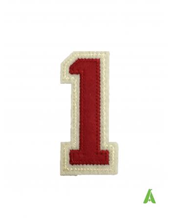 """Gestickte Zahlen """"1""""rot beige 10 cm, zum Aufnähen und Aufwärmen auf Sweatshirts und Kleidung"""