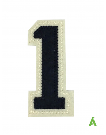 """Embroidered number """"1"""" on fabric, dark blue-beige color, thermo-adhesive and sewing on textiles, sweatshirts, jackets."""