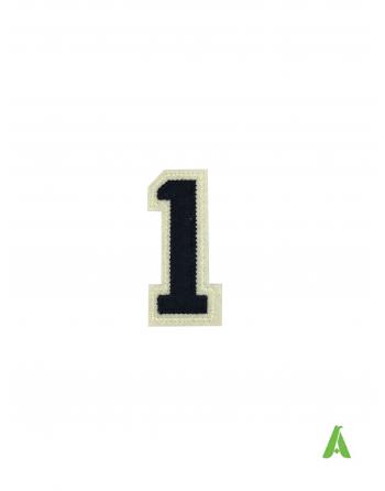 """Nummer """"1"""" auf Stoff gestickt, dunkelblau-beige, thermoklebend und zum Aufnähen von Kappen, mutzen, textilien."""