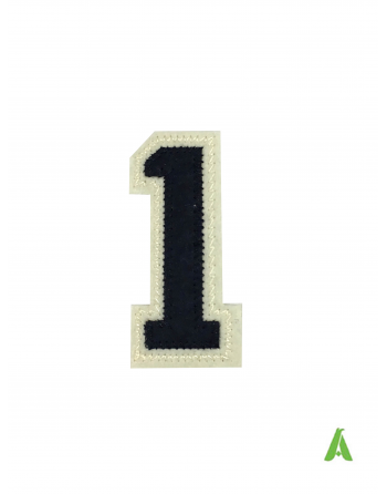 Numéro 1 brodé sur feutre, de couleur bleu foncé et écru 'à coudre ou thermo-appliqué sur vêtements et textiles.