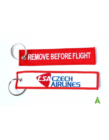 Embroidered Remove before flight Keychain with bespoke text two-sided embroidered.