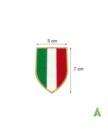 Patch escudo bandera Italia bordado sobre tejido, con perímetro oro cm 7x5 listo de coser, termoaplicar.