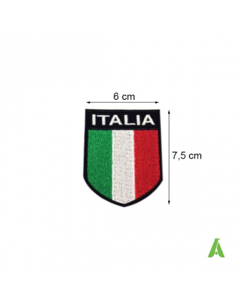 Escudo bandera italiana termoadhesivo Art. FLAG102 de coser, sobre tejido , con perímetro y fondo negro.
