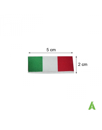 Italian label, woven flag, green, white, red, to be sewn on textile, clothing and caps, Art. FLAG500