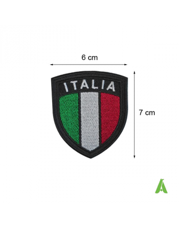 Italian embroidered shield flag to be heat-applied and sewn on textile and caps, Art. FLAG103.