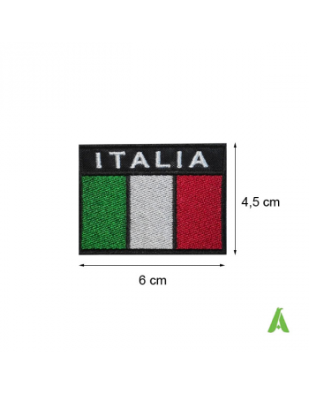 Italian flag cm 6x4.5 to sew and heat-apply on caps, textile, bags and accessories, Art. FLAG205