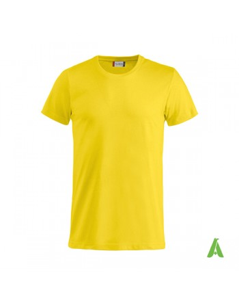 Bespoke yellow T-shirt with embroidered logo, unisex, short sleeves, for events, companies, promotions, sport. Colour 10.
