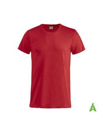 Bespoke red T-shirt with embroidered logo, unisex, short sleeves, for events, companies, promotions, sport. Colour 35.