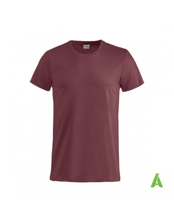 Bespoke bordeaux T-shirt with embroidered logo, unisex, short sleeves, for events, companies, promotions, sport. Colour 38.