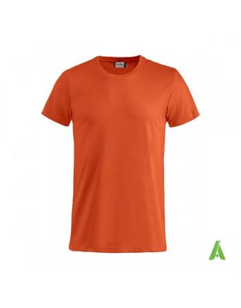 T-shirt unisexe couleur orange 18, manches courtes, 100% coton peigné Ringspun, pour les événements, sports et entreprises.