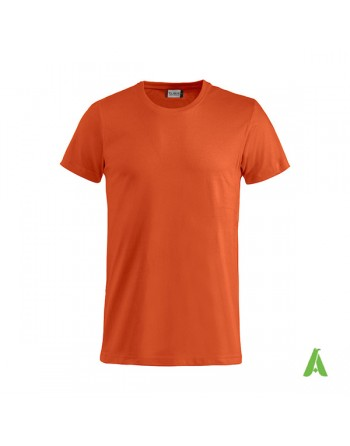 Bespoke orange T-shirt with embroidered logo, unisex, short sleeves, for events, companies, promotions, sport. Colour 18.