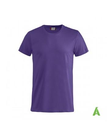 T-shirt unisexe couleur pourpre 44, manches courtes, 100% coton peigné Ringspun, pour les événements, sports et entreprises.