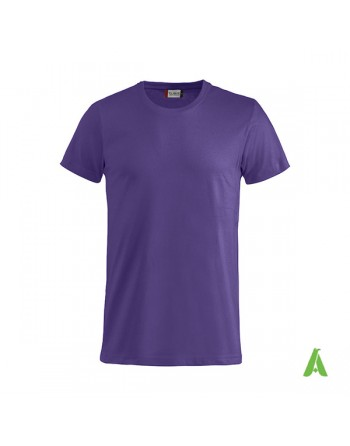 Bespoke purple T-shirt with embroidered logo, unisex, short sleeves, for events, companies, promotions, sport. Colour 44.