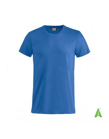 T-shirt unisexe couleur bleue 55, manches courtes, 100% coton peigné Ringspun, pour les événements, sports et entreprises.