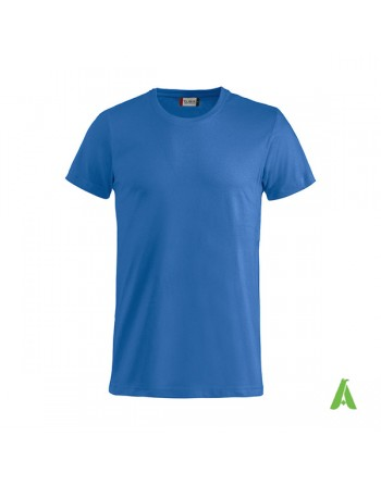 Bespoke royal blue T-shirt with embroidered logo, unisex, short sleeves, for events, companies, promotions, sport. Colour 55.