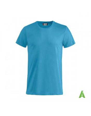 T-shirt unisexe couleur bleue 54, manches courtes, 100% coton peigné Ringspun, pour les événements, sports et entreprises.