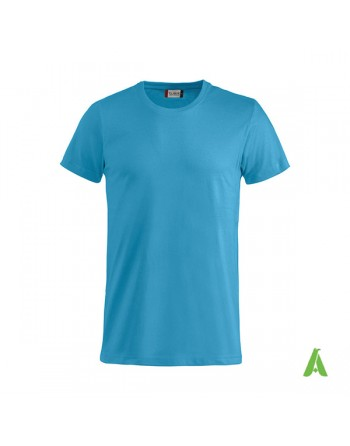 Bespoke blue T-shirt with embroidered logo, unisex, short sleeves, for events, companies, promotions, sport. Colour 54.