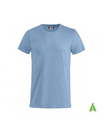 Camiseta color azul claro 57, manga corta, 100% algodón peinado, personalizado con bordados para eventos, deportes y empresas.