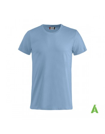 Bespoke light blue T-shirt with embroidered logo, unisex, short sleeves, for events, companies, promotions, sport. Colour 57.