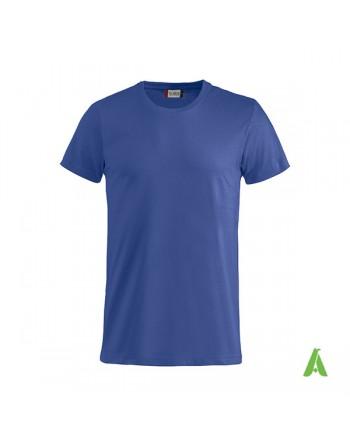T-shirt unisexe couleur bleue 56, manches courtes, 100% coton peigné Ringspun, pour les événements, sports et entreprises.