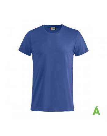 Bespoke royal blue T-shirt with embroidered logo, unisex, short sleeves, for events, companies, promotions, sport. Colour 56.