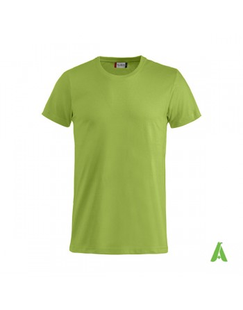Bespoke light green T-shirt with embroidered logo, unisex, short sleeves, for events, companies, promotions, sport. Colour 605.