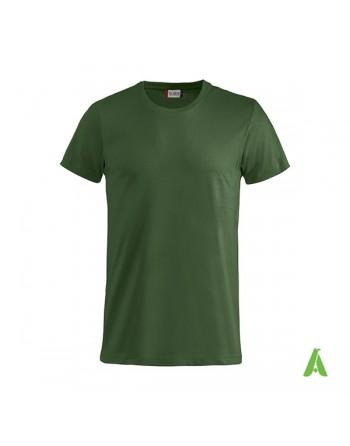 T-shirt unisexe couleur verte 68, manches courtes, 100% coton peigné Ringspun, pour les événements, sports et entreprises.