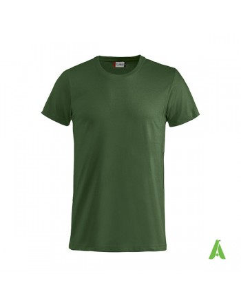 Bespoke forest green T-shirt with embroidered logo, unisex, short sleeves, for events, companies, promotions, sport. Colour 68.