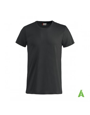 Bespoke black T-shirt with embroidered logo, unisex, short sleeves, for events, companies, promotions, sport. Colour 99.
