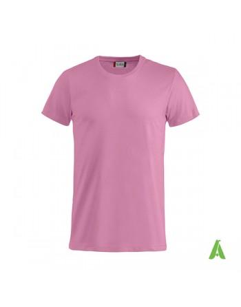 T-shirt unisexe couleur rose 250, manches courtes, 100% coton, personnalisé avec broderie pour événements, sports, entreprises.
