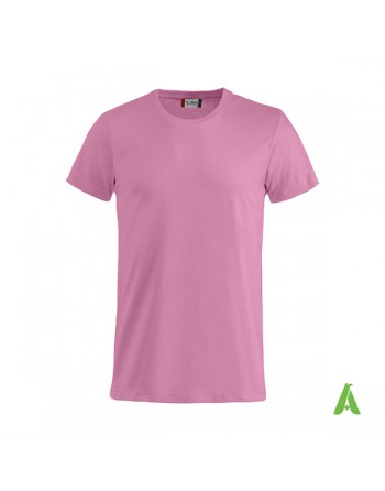 Bespoke pink T-shirt with embroidered logo, unisex, short sleeves, for events, companies, promotions, sport. Colour 250.