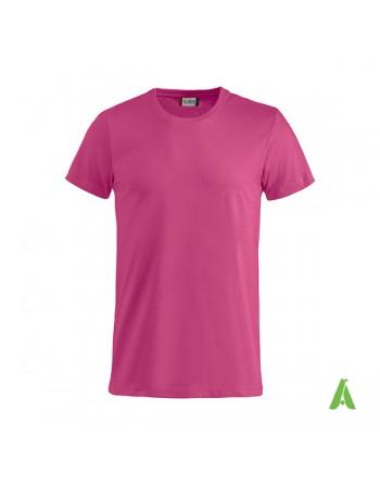 T-shirt unisexe fuchsia 300, manches courtes, 100% coton, personnalisé avec broderie pour événements, sports, entreprises.