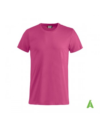 Bespoke fuxia T-shirt with embroidered logo, unisex, short sleeves, for events, companies, promotions, sport. Colour 300.