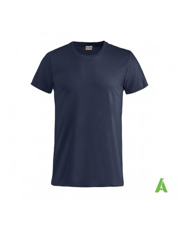 Bespoke navy blue T-shirt with embroidered logo, unisex, short sleeves, for events, companies, promotions, sport. Colour 580.