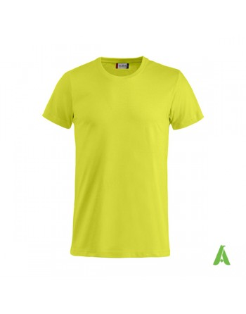 Bespoke yellow fluo T-shirt with embroidered logo, unisex, short sleeves, for events, companies, promotions, sport. Colour 600.