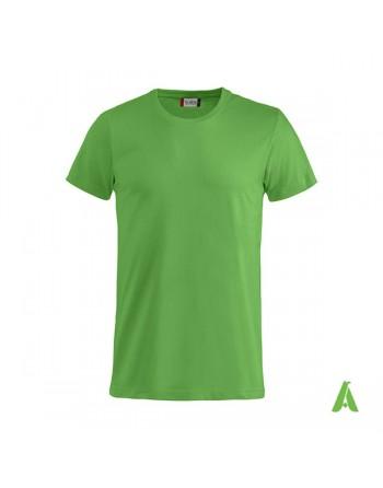 T-shirt unisexe verte 605, manches courtes, 100% coton, personnalisé avec broderie pour événements, sports, entreprises.