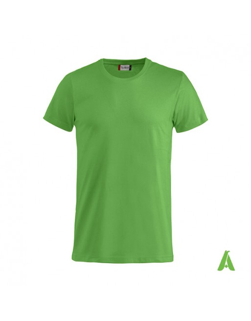 Bespoke green T-shirt with embroidered logo, unisex, short sleeves, for events, companies, promotions, sport. Colour 605.