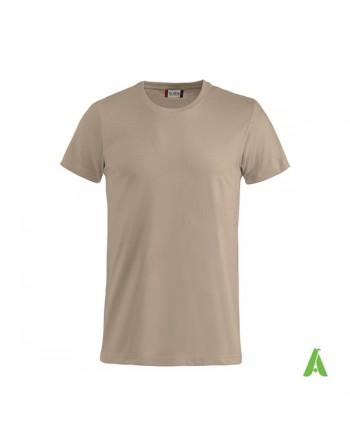 Camiseta color beige 820, manga corta, 100% algodón peinado, personalizado con bordados para eventos, deportes y empresas.