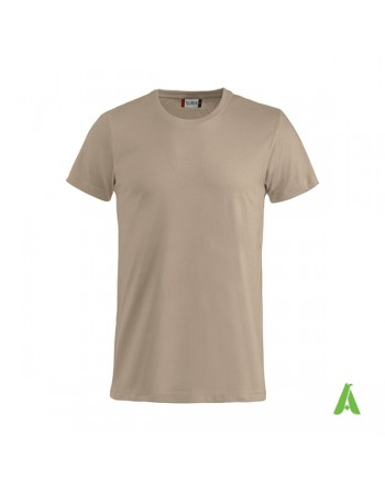 Bespoke beige T-shirt with embroidered logo, unisex, short sleeves, for events, companies, promotions, sport. Colour 820.