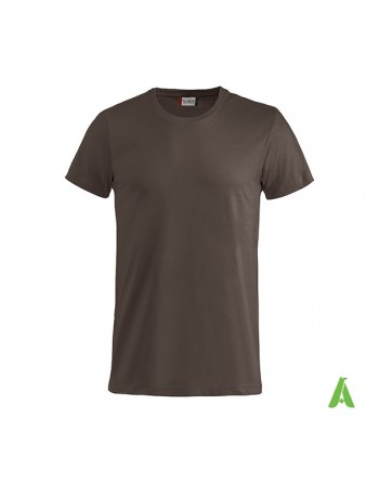 Bespoke brown T-shirt with embroidered logo, unisex, short sleeves, for events, companies, promotions, sport. Color 825.