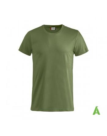 Camiseta color verde militar, manga corta, 100% algodón peinado, personalizado con bordados para eventos, deportes y empresas.