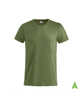 Bespoke military green T-shirt with embroidered logo, short sleeves, for events, companies, promotions, sport. Colour 71.
