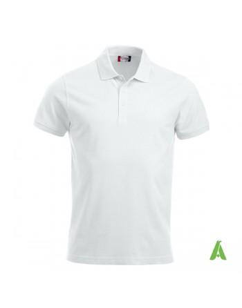 Polo unisexe blanc 00, manches courtes, tissu peigné, avec broderies pour les entreprises et le temps libre.
