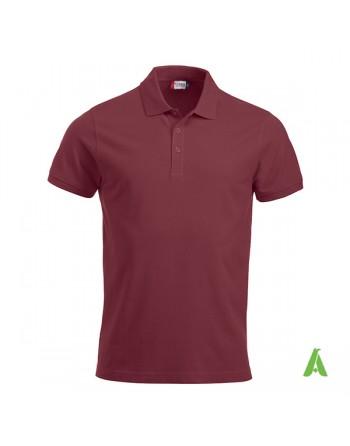 Polo unisexe bordeaux 38, manches courtes, tissu peigné, avec broderies pour les entreprises et le temps libre.