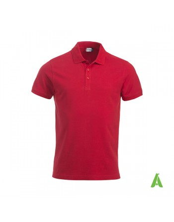 Polo unisexe rouge 35, manches courtes, tissu peigné, avec broderies pour les entreprises et le temps libre.