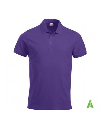 Polo unisexe pourpre 44, manches courtes, tissu peigné, avec broderies pour les entreprises et le temps libre.